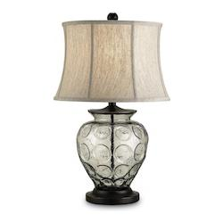 Bronze / Recycled Glass Vetro 1 Light Metal Table Lamp with Oatmeal Linen Shade