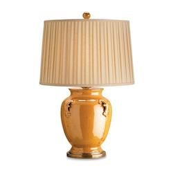 Vintage Brass / Black Hyde Park 2 Light Table Lamp with Gold Shantung Shade