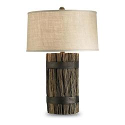 Natural Wood Wharf Table Lamp with Putty Burlap Shade and 3-Way Switch