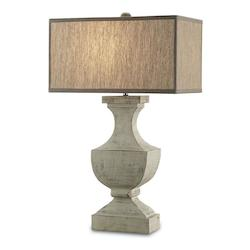 Washed Buff Greta 1 Light Wood Table Lamp with Natural Linen Shade