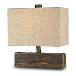 Natural Structure 1 Light Wood Table Lamp with Black Linen Shade