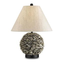 Natural / Satin Black Amalfi 1 Light Shell Table Lamp with Oatmeal linen Shade
