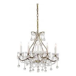 Smoke Gold Paradmour 5 Light Chandelier with Clear Crystal Accents