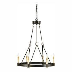 Old Iron Chantelaine 33in.H 6 Light Chandelier with Optional Customizable Shades