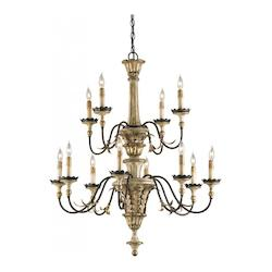 Ivory Brown / Sicilian Gold Leaf / Rust Adara 39in.H 12 Light Chandelier with Optional Customizable Shades