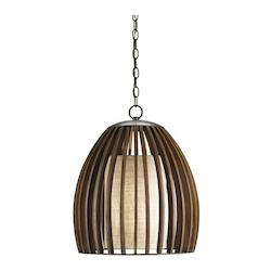 Polished Fruitwood Carling 1 Light Pendant in Old Iron Polished Fruitwood Finish