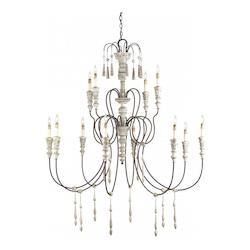 Stockholm White / Rust 12 Light Wrought Iron Large Hannah Chandelier with Customizable Shades