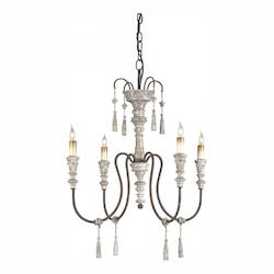 Stockholm White / Rust 4 Light Wrought Iron Petit Hannah Chandelier with Customizable Shades