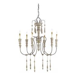 Rust 6 Light Wrought Iron Small Hannah Chandelier with Customizable Shades
