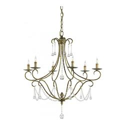 Rhine Gold Agostina 30in.H 6 Light Chandelier with Optional Customizable Shades