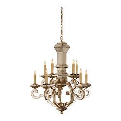Harlow Silver Leaf/Antique Mirror Domani Chandelier with Customizable Shades