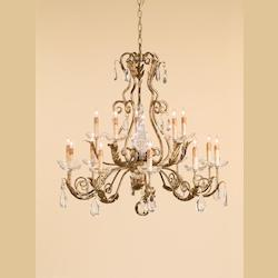 Gold Leaf Soleil Chandelier with Customizable Shades