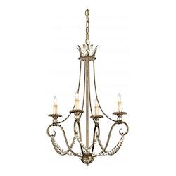 Barcelona Gold Leaf/Silver Leaf Anise Chandelier with Customizable Shades