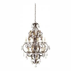 Gold Leaf/Swarovski Crystal Heirloom Chandelier Large  with Customizable Shades