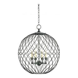 Hiroshi Gray Simpatico Orb 4 Light Chandelier Small