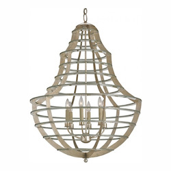 Contemporary Silver Leaf Everest 6 Light 1 Tier Chandelier
