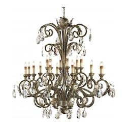 Italian Silver Promenade Chandelier with Customizable Shades