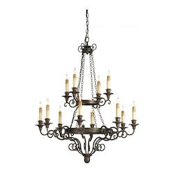 Hand Rubbed Bronze Galleon 12 Light Chandelier with Optional Customizable Shades