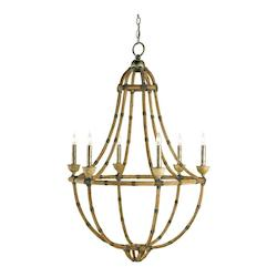 Pyrite Bronze / Washed Wood / Natural Palm Beach 6 Light Chandelier