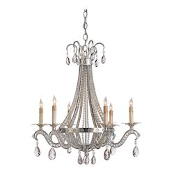 Silver Leaf Chartres Chandelier  with Customizable Shades