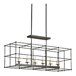 Mayfair Fitzjames 6 Light Island / Billiard Fixture with Wrought Iron Frame