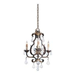 Venetian/Gold Leaf/Swarovski Crystal Tuscan 3 Light Single Tier Chandelier with Customizable Shades