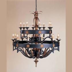 Zanzibar/Gold Leaf Camelot Chandelier Large with Customizable Shades