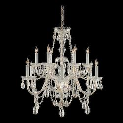 Traditional Crystal 12 Light Clear Crystal Brass Chandelier Iii