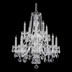 Crystorama Traditional Crystal 12 Light Clear Italian Crystal Chrome Chandelier