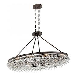 Crystorama Calypso 8 Light Crystal Teardrop Vibrant Bronze Oval Chandelier