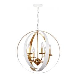 Crystorama Luna 6 Light White & Gold Sphere Large Chandelier