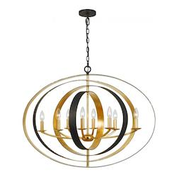 English Bronze / Antique Gold Luna 8 Light 36in. Wide Wrought Iron Chandelier