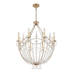 Distressed Twilight Waverly 8 Light 28in. Wide Chandelier Crystal Accents