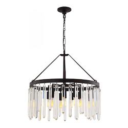 Forged Bronze Hollis 10 Light 24in. Wide Chandelier with Clear Glass Diffusers