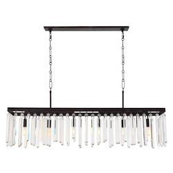 Forged Bronze Hollis 6 Light 49in. Wide Chandelier with Clear Glass Diffusers