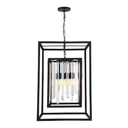 Forged Bronze Hollis 8 Light 21in. Wide Chandelier with Clear Glass Diffusers