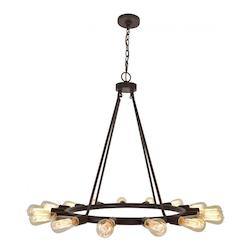 Charcoal Bronze Dakota 15 Light 28in. Wide Made of wrought iron Chandelier