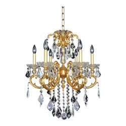 Praetorius 6 Light Chandelier W/French Gold 24/K