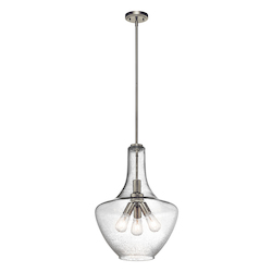 Brushed Nickel Everly 3 Light Pendant