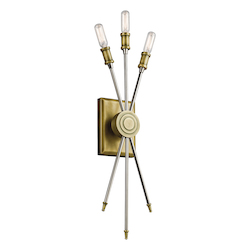 Natural Brass Doncaster Ada 3 Light Wall Sconce