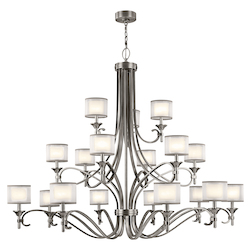 Antique Pewter Lacey 18 Light 3 Tier Chandelier