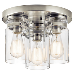 Brushed Nickel Brinley 3 Light Flush Mount Ceiling Fixture