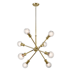 Natural Brass Armstrong 8 Light 4 Tier Chandelier