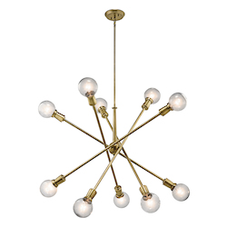 Natural Brass Armstrong 10 Light Pendant