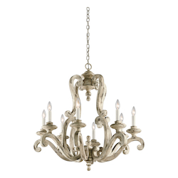 Distressed Antique White Hayman Bay 8 Light 1 Tier Chandelier