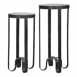 Arusi Strapped Iron Accent Tables, S/2