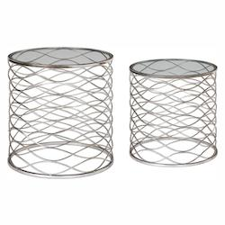 Aida Iron Cage Accent Tables, S/2