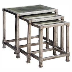 Keanna Antiqued Silver Nesting Tables, S/3
