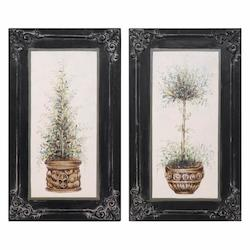 Topiaries Hand Painted Art, S/2