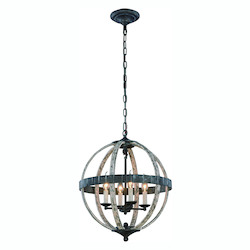 Orbus  Collection Pendant Lamp D:18In. H:22In. Lt:4 Ivory Wash & Steel Grey